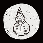 Clown toy doodle — Stock Vector