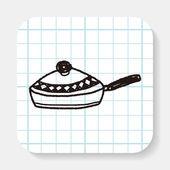 Doodle Frying pan — Stock Vector