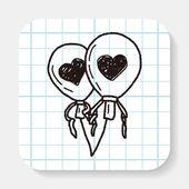 Love balloon doodle — Stock Vector