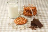 Chip cookie en een glas melk — Stockfoto