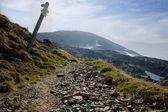 Pointers distances at mountain top — Stock Photo