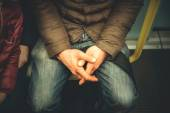 Man sitted in the subway thinking — Stock Photo