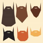 Set of beard silhouettes — Stock Vector