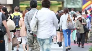 TOKYO, JAPAN - CIRCA 2013: Large crowds of pedestrians, commuters, and shoppers — Wideo stockowe