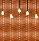 Wall brick with hanging bulbs decoration — 图库矢量图片