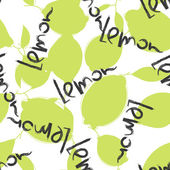 Green lime and lemon fruits on white background. Citrus seamless silhouette vector pattern. — Stock Vector