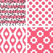 Ikat vektor seamless mönster. Abstrakt geometrisk bakgrund för tyg, utskrift eller omslagspapper. — Stockvektor
