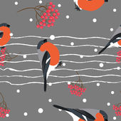 Bullfinch and berberry branch seamless pattern. Vector background — Stock Vector