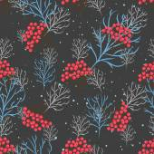 Rowanberry branch seamless pattern. Vector background — Stock Vector