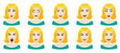 Emotions female face set. — Stock Vector