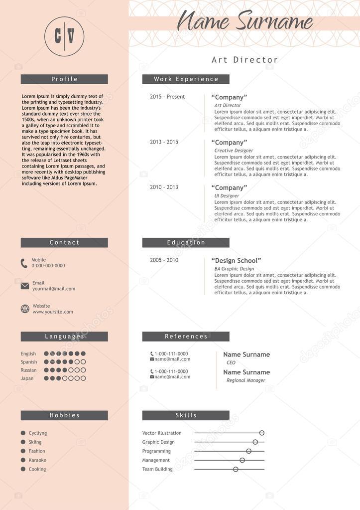 mod u00e8le de cv cr u00e9atif de vecteur  style minimaliste   u00c9l u00e9ments de cv infographie  u2014 image