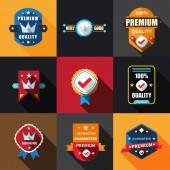 Flat Labels Badges Set — Stock Vector