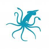 Blue Squid silhouette — Stockvector