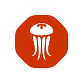Jellyfish logo on corners — Stock Vector
