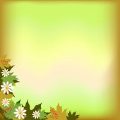 Abstract background with maple leaves and flowers — Stock Vector