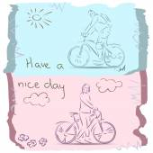 Have a Good Day on Bike. Sketch — Stock Vector