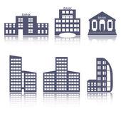 Buildings flat design web icons set — Stock Vector