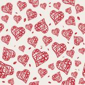 Vector seamless pattern with hand drawn red hearts — Stock Vector