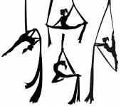Aerial silk dancer in silhouette — Stock Vector