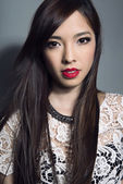 Beautiful asian woman with long hair — Stock Photo