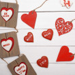 Sweet things for Valentine's Day. Wood heart, cookies, photo frame. — Stockfoto #64710467