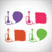 Hookah icons with banners — 图库矢量图片