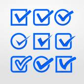 Set of blue check marks — Stock Vector