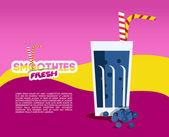 Blueberry  fresh Smoothie menu — Stock Vector
