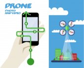Photo or Video  with quadrocopter — Vetor de Stock