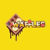 Sweet Waffles with fruits — Stock Vector