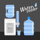 Water cooler and bottle office — Stock Vector