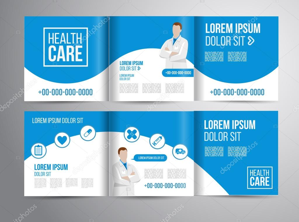Healthcare Brochure For Clinic With Doctors  Stock Vector
