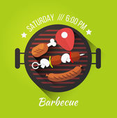 Set of barbecue and grilled food — Stock Vector