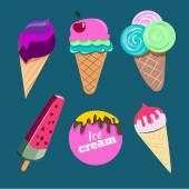 Ice cream set illustration — Stock Vector