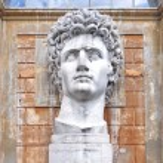 Ancient statue of Roman Emperor Gaius Julius Caesar Augustus at Vatican Museums — Stock Photo #64879551