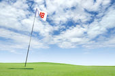 Golf flag at hole 18 on the putting green — Stock Photo