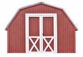 Barn style utility tool shed for garden and farm equipment, isolated on white background — Stock Photo