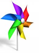Pinwheel with a rainbow colored wheel, rendered in 3D — Stock Photo