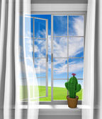 Cute flowering cactus sitting in a sunny house window — Stock Photo