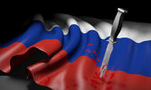 Flag of Russia with a bloody knife, symbolizing the rebel conflict with Ukraine — Stock Photo