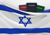 Travel and tourism in Israel, with assorted passports — Stock Photo