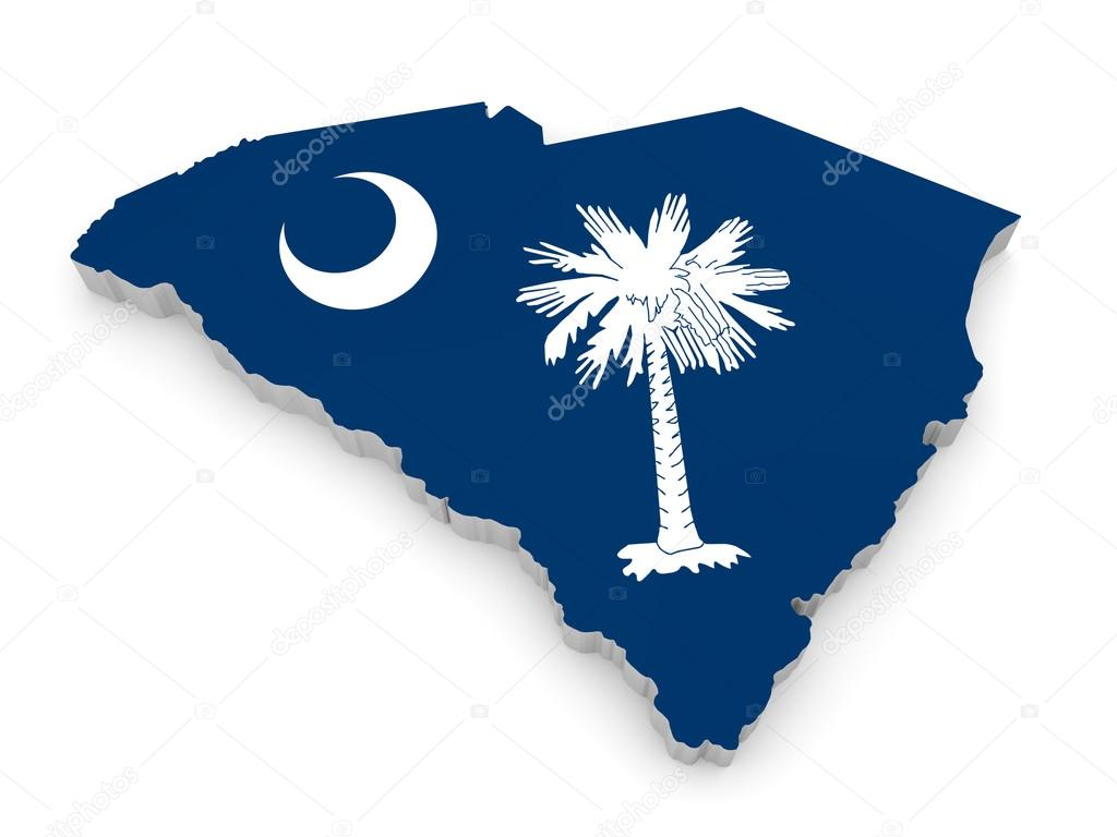 Geographic Border Map And Flag Of South Carolina The Palmetto - Us south border map