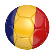 Soccer ball, or football, with the country flag of Romania — Stock Photo #70753651