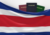 Travel and tourism in Costa Rica, with assorted passports — Stock Photo