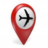 3d-rode kaart muisaanwijzer met een vliegtuig symbool voor luchthavens — Stockfoto