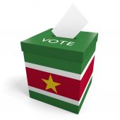 Suriname election ballot box for collecting votes — Stock Photo