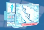 Medical science fiction concept of DNA cloning via futuristic biotechnology advances — Stok fotoğraf