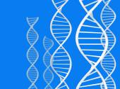 Science and biotech theme of white DNA spirals over a blue background — Fotografia Stock