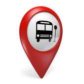 3D red map pointer icon with a bus symbol for public transportation — Stock Photo
