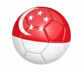 Soccer ball, or football, with the country flag of Singapore — Stock Photo